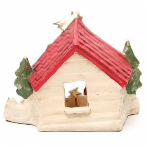 Hut with Nativity red decoration 20x14x18cm s4