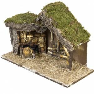 Krippe Hütten und Grotten: Hütte für Krippe mit Basis aus Holz 30x42x18 cm