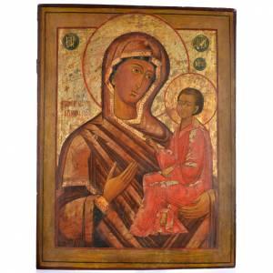 Icone Russe antiche: Icona antica russa Madonna di Tichvin 68x57 cm XIX sec.