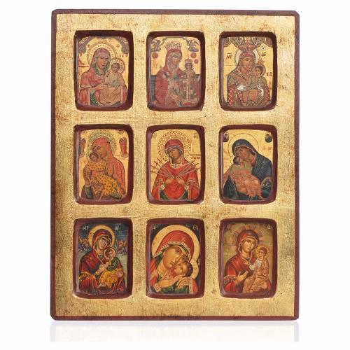 Icona greca serigrafata 9 Madonne 18x23 s1