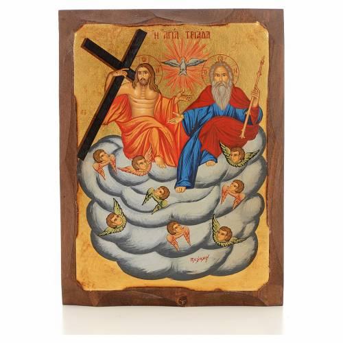 Icona Grecia dipinta SS. Trinità su nuvola s4