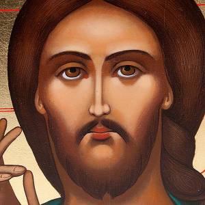 Icona Pantocratore primo piano Russia dipinta cm 22x27 s3
