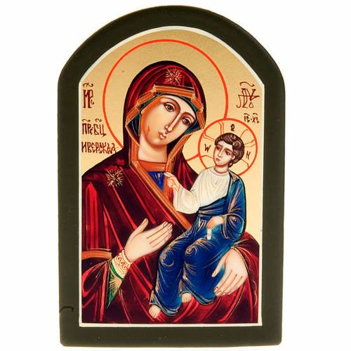 Icona sacra Odighitria manto blu 6x9 Russia s1