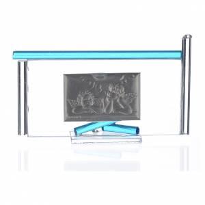 Icône Anges argent et verre Murano aigue-marine 13x8 cm s2