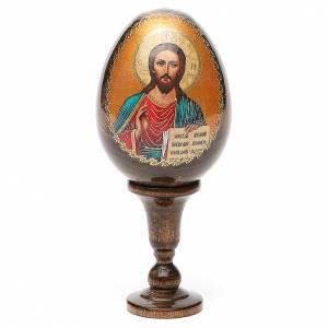 Icône Christ Pantocrator sur oeuf en bois s1