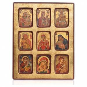 Icône grecque sérigraphiée 9 Vierges à l'Enfant 18x23cm s1