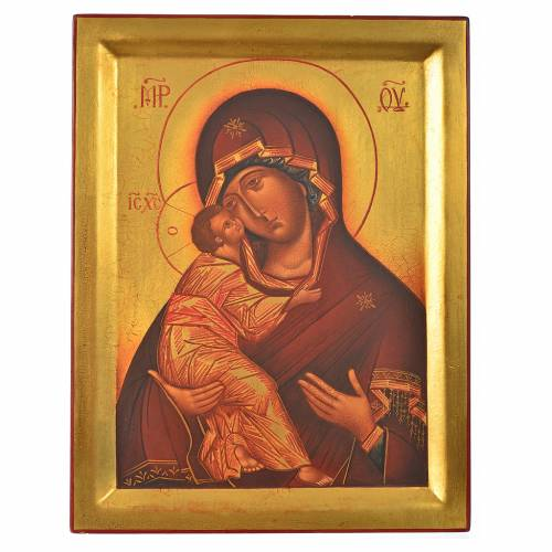Icône peinte Russie Notre-Dame de Vladimir 28x21 cm s1