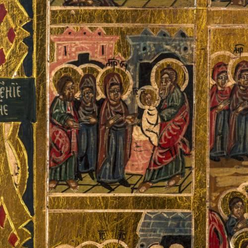Icône Russe 12 Grandes Fêtes peinte à la main s5