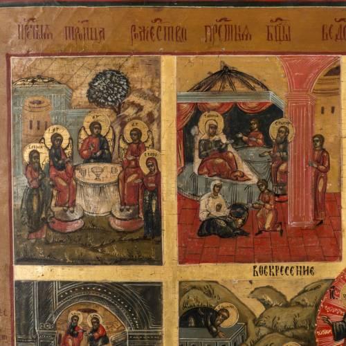 Icone Russe ancienne douze  grandes Fetes XIX siècle s2