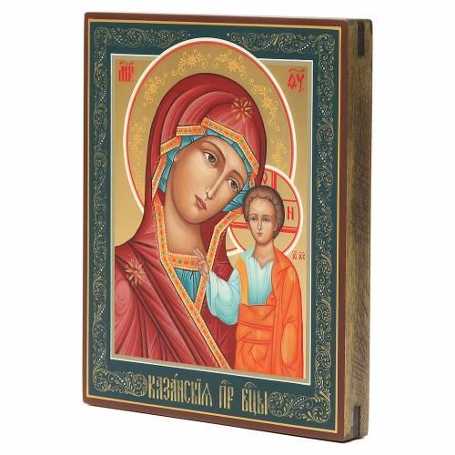Icône russe peinte Vierge de Kazan 22x18 cm s2