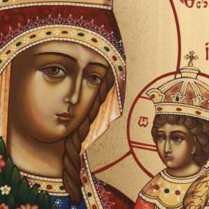 Icône russe Vierge aux fleurs peinte à main s2