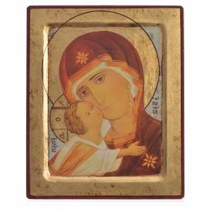 Icône sérigraphiée Vierge de Vladimir encaissée 20x25 cm s1