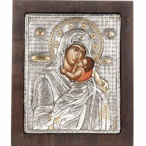 Icone Vierge à l'enfant avec riza en argent 950 s1
