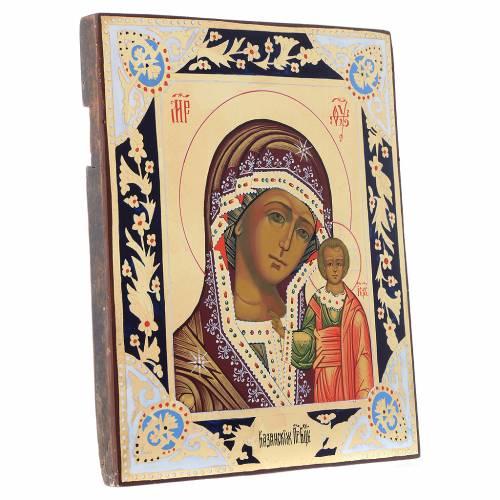 Icône Vierge de Kazan sur planche du XIX siècle s3