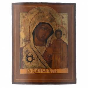 Íconos antiguos: Icono Kazanskaya XIX siglo 40 x 30 cm antigua Restaurada