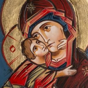 Handgemalte rumänische Ikonen: Ikone Gottesmutter von Wladimir mit Holz Rahmen