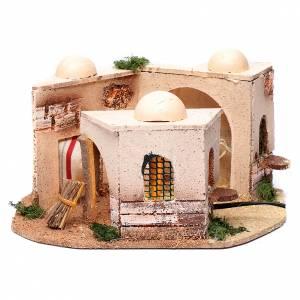 Settings, houses, workshops, wells: Illuminated cork Arabian house for nativity scene15x25x10 cm