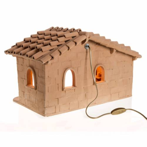 Illuminated crib Nativity scene terracotta Deruta s4