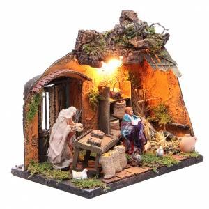 Illuminated farmer with goose figurine for Neapolitan Nativity, 12cm s2