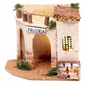Settings, houses, workshops, wells: Illuminated greengrocer for nativity scene15x15x20 cm