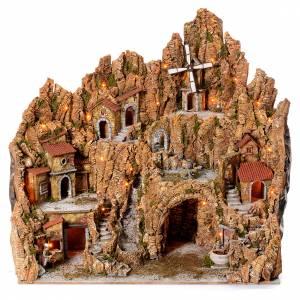 Neapolitan Nativity Scene: Illuminated Neapolitan nativity scene with mill hut and pizza maker moving  105X95X85