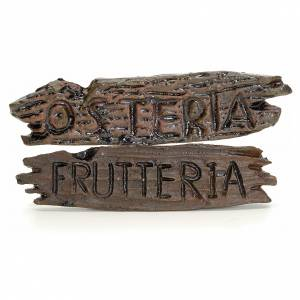 Insegne negozio presepe: osteria e frutteria 6x1,5 cm s1