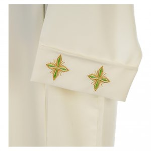 Ivory alb in polyester with cross and zipper on shoulder s3