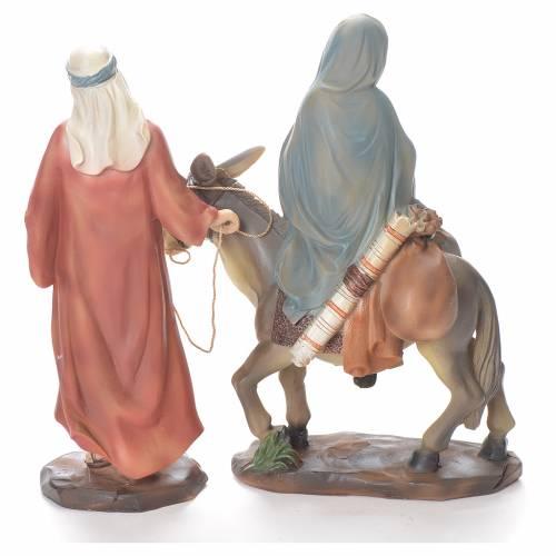 Joseph et Marie enceinte sur âne 26 cm résine s4