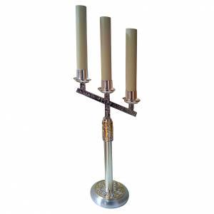 Armleuchter: Kerzenhalter 4 Evangelisten Messing 60cm 3 Tüllen