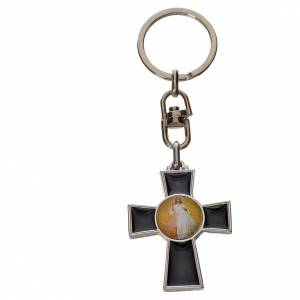 Keychain with Holy Spirit cross medal, zamak black enamel s2