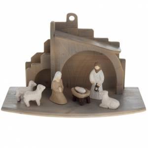 Krippe aus Grödnertal Holz: Kleine stilisierte Krippe Holz