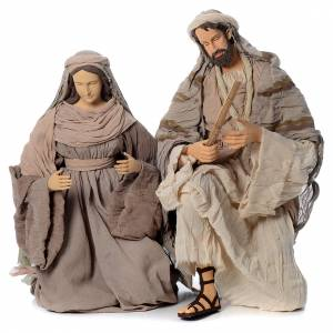 Nativity sets: Kneeling nativity in fabric and resin, 120cm