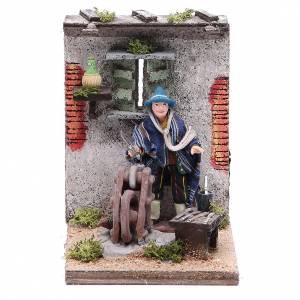 Knife grinder animated figurine for Neapolitan Nativity, 10cm s1