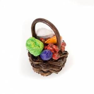 Neapolitanische Krippe: Korb mit Obst und Gemüse aus Terrakotta