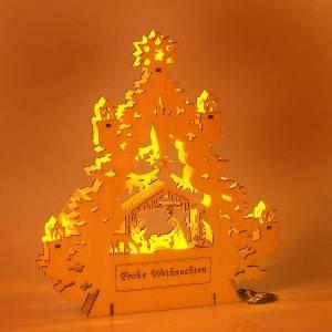 Krippe aus Grödnertal Holz: Krippe Baum Lichten