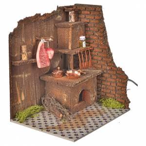 Hauszubehör für Krippe: Küche mit Feuereffekt, 20x14cm