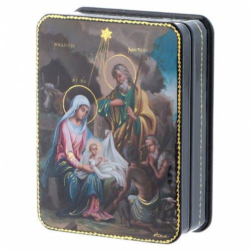 Lacca russa Papier-mâché riproduzione Nascita Cristo Fedoskino style 11x8 2