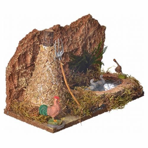 Lago con gansos y pajar 15x24x13 cm para belén s5