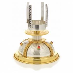 Lampe de sanctuaire à poser bronze doré et argenté martelé s5