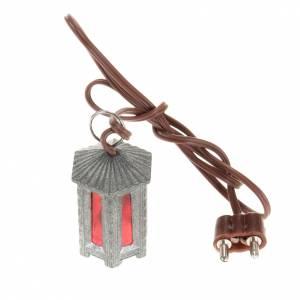 Lichter und Laterne für Krippe: Laterne aus Metall rotes Licht sechseckig 3.5 cm