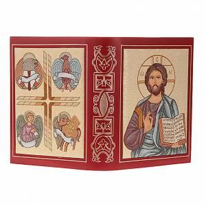 Deckel für Lektionar: Lektionareinband echte Leder Kristus Pantocratore gestickt
