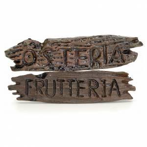 Letrero negocio pesebre: taberna y fruteria 6x1,5cm s1