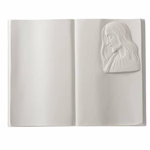 Libro targa per cimiteri marmo sintetico Cristo s1