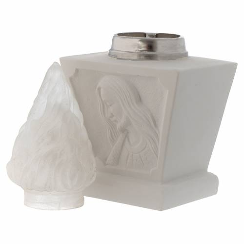 Light holder for cemetery, in reconstituted white marble, Jesus s4
