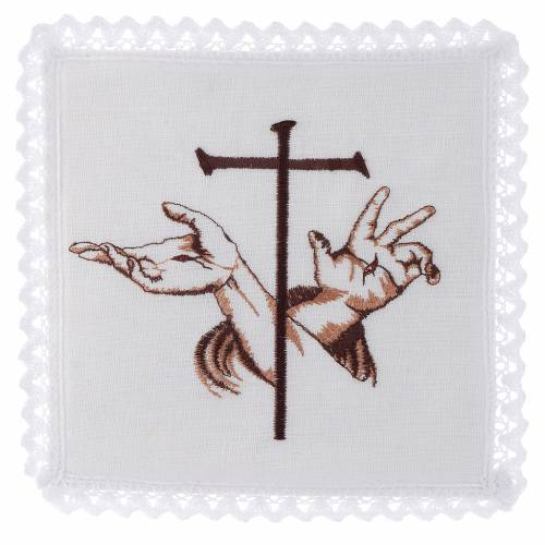 Linge d'autel lin mains stigmates de Jésus et croix s1