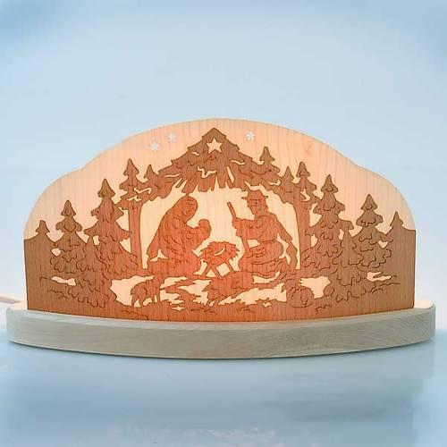 Lit-up wooden nativity scene s2