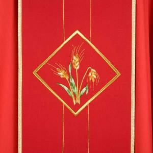 Liturgical chasuble in 100% wool, Eucharistic symbols s3