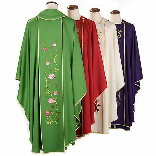 Liturgical chasuble in 100% wool, IHS and roses s2