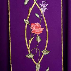 Liturgical chasuble in 100% wool, roses and branches s4