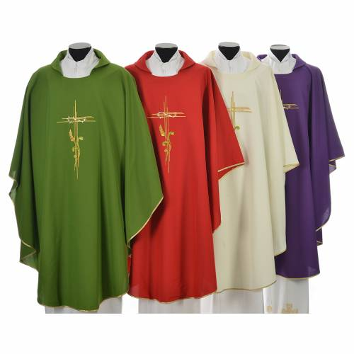 Liturgical Chasuble in polyester with JHS and wheat embroidery s1